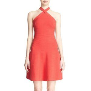 T by Alexander Wang Rib Fit & Flare Knit Dress Red